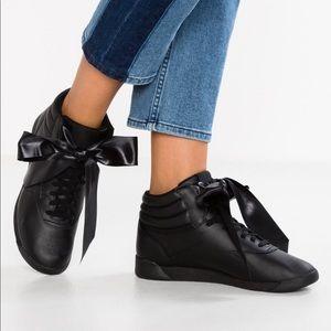 Reebok Freestyle Hi Satin Bow Sneakers